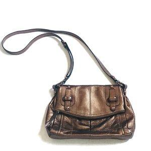 B. Makowsky Metallic Leather Crossbody Bag